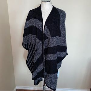 Zara Knit Black and Grey Open Front Shawl Cape